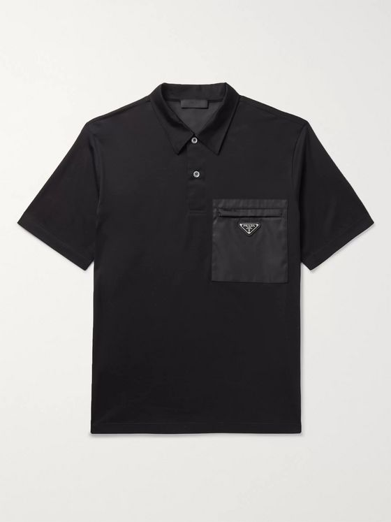 Prada Logo-Appliquéd Nylon-Trimmed Cotton-Blend Jersey Polo Shirt