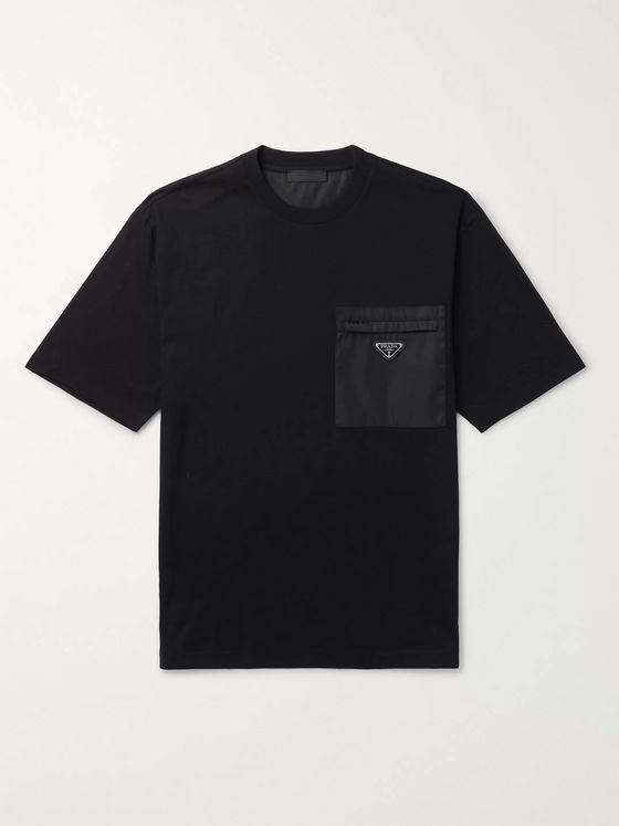 Prada Logo-Appliquéd Leather- and Nylon-Trimmed Cotton-Jersey T-Shirt