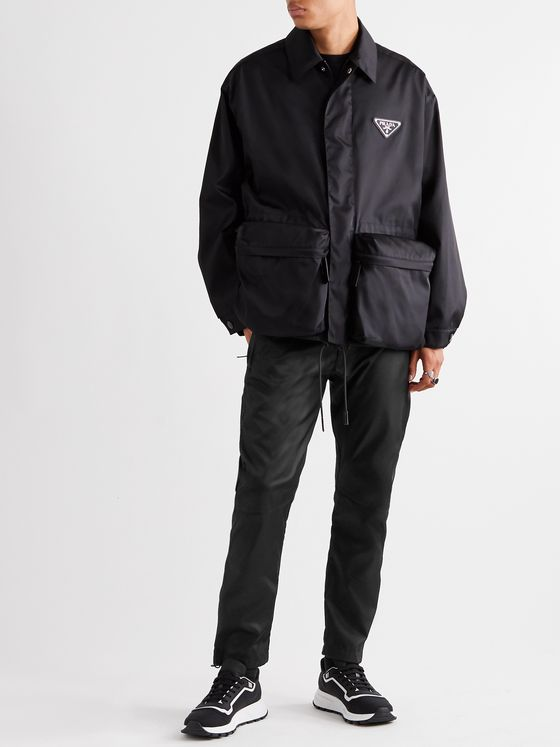 Prada Tapered Logo-Appliquéd Nylon-Gabardine Trousers