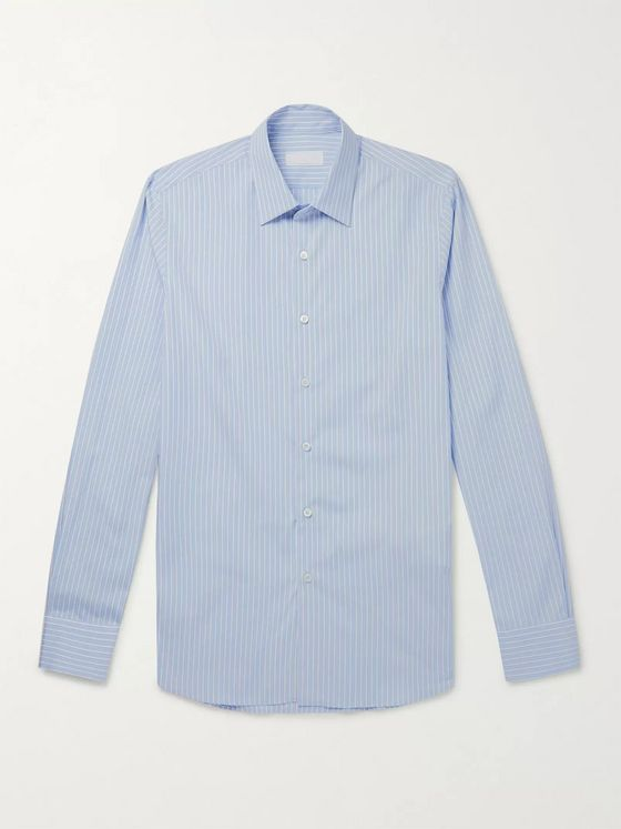 Prada Striped Cotton-Chambray Shirt