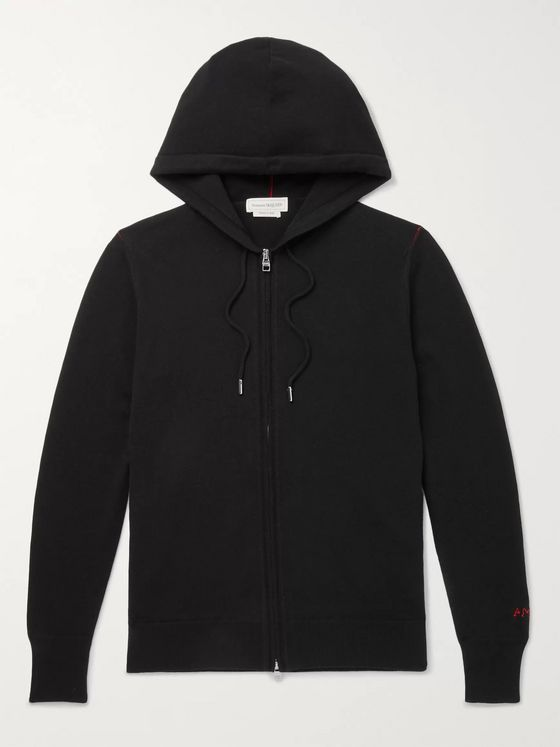 Alexander McQueen Logo-Embroidered Cashmere Hooded Zip-Up Cardigan