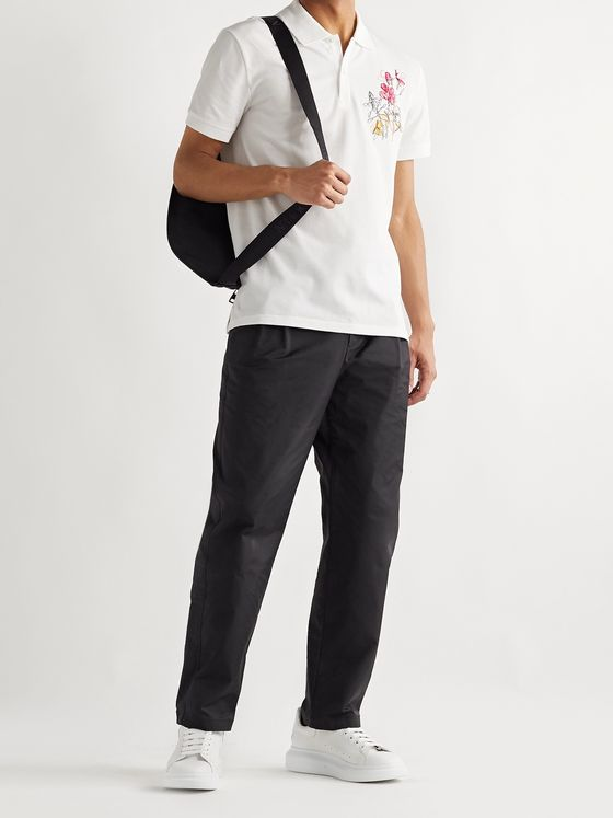 Alexander McQueen Embroidered Cotton-Piqué Polo Shirt