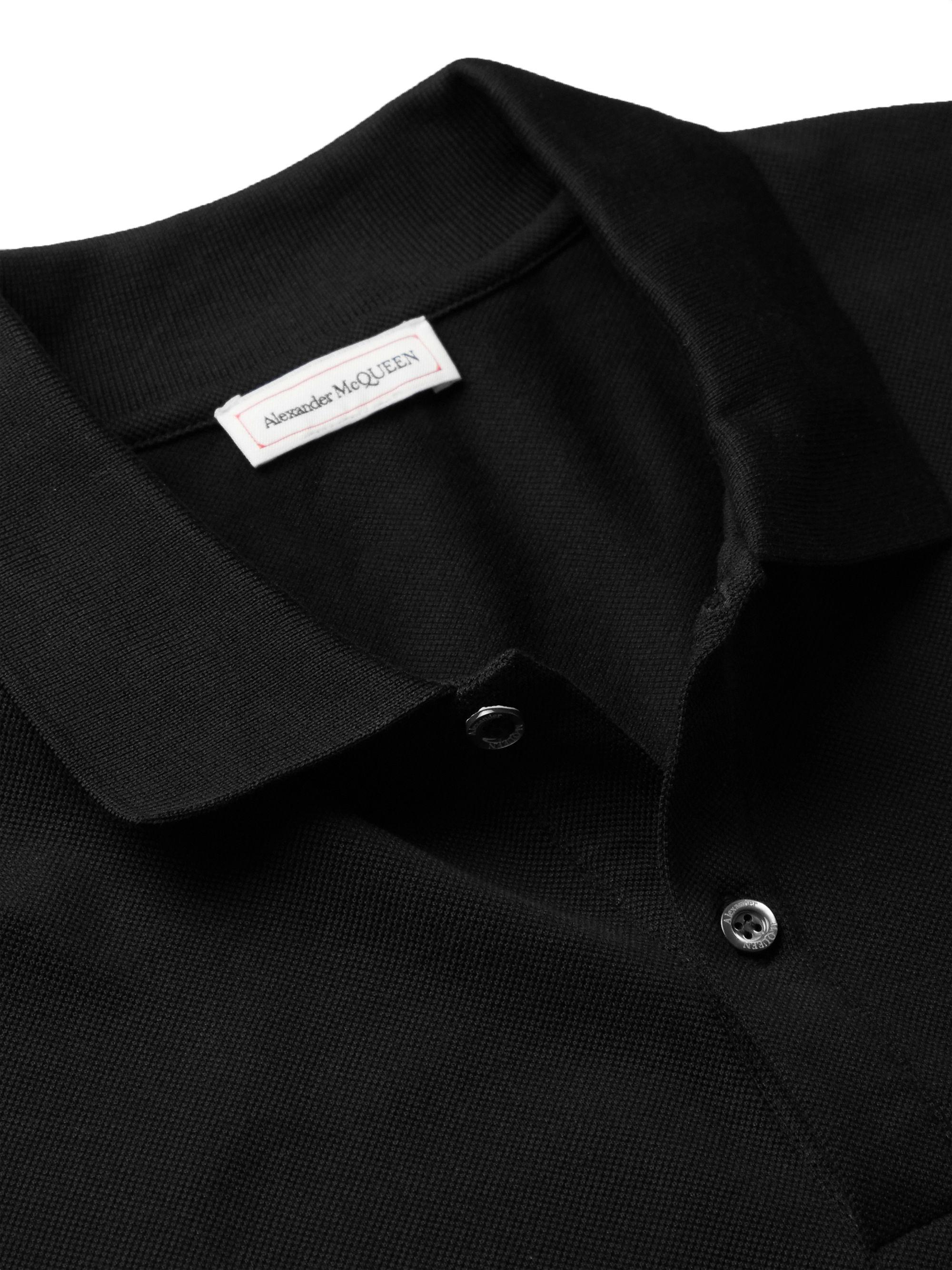 Black Logo-appliquéd Cotton-piqué Polo Shirt   Alexander Mcqueen