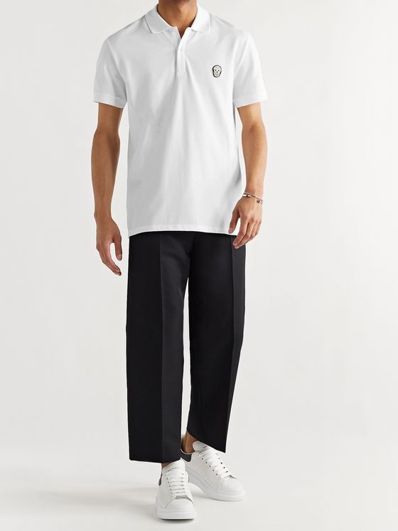 ALEXANDER MCQUEEN Appliquéd Cotton-Piqué Polo Shirt