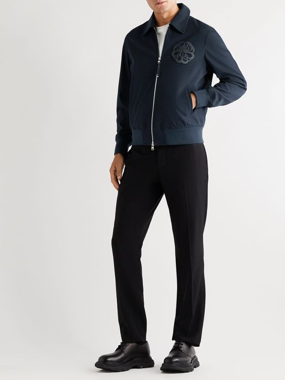 Alexander McQueen Leather and Fleece-Trimmed Cotton-Blend Twill Jacket