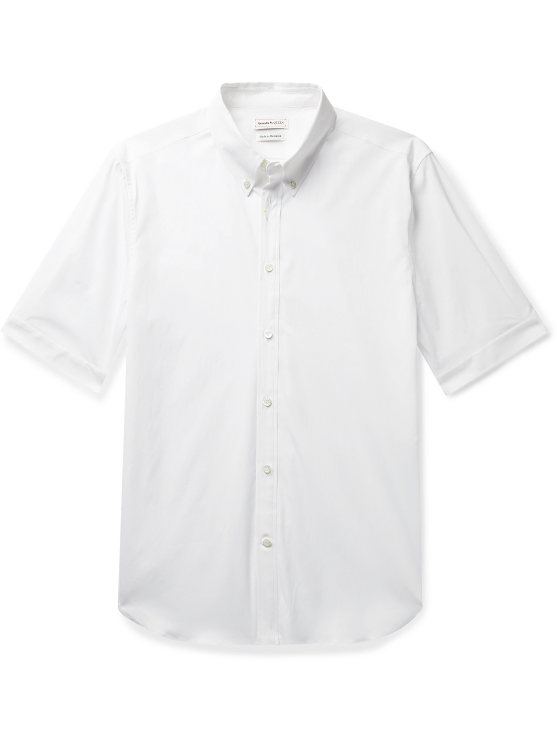 alexander mcqueen - slim-fit button-down collar stretch-cotton poplin shirt - men - white - uk/us 14.5