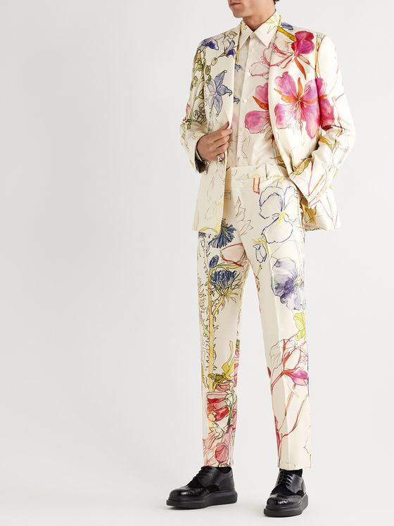 Alexander McQueen Slim-Fit Floral-Print Silk and Wool-Blend Suit Trousers
