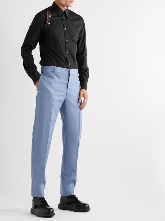 ALEXANDER MCQUEEN Harness-Detailed Stretch Cotton-Poplin Shirt