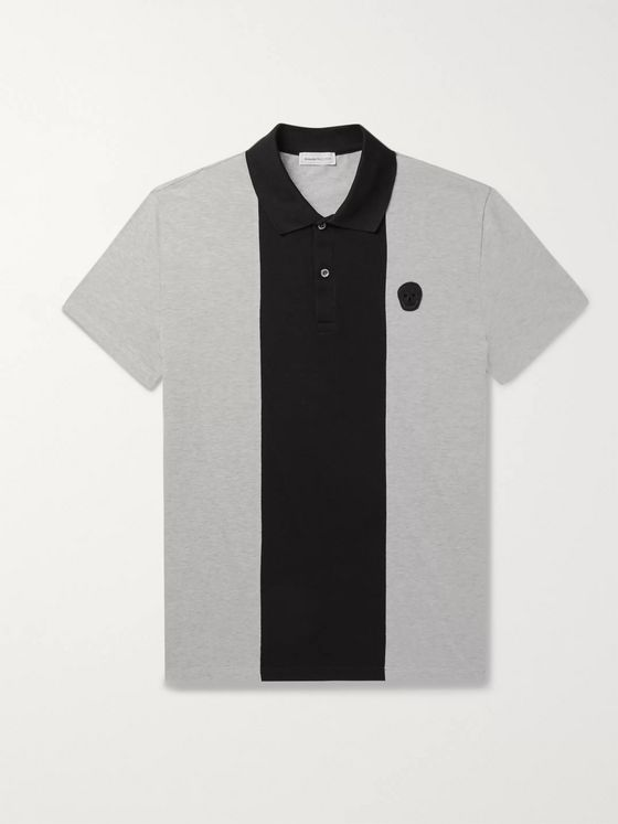 Alexander McQueen Logo-Appliquéd Cotton-Jersey and Piqué Polo Shirt