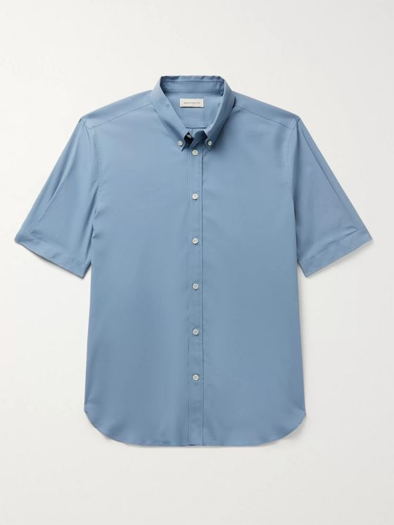 Alexander McQueen Slim-Fit Button-Down Collar Stretch-Cotton Poplin Shirt