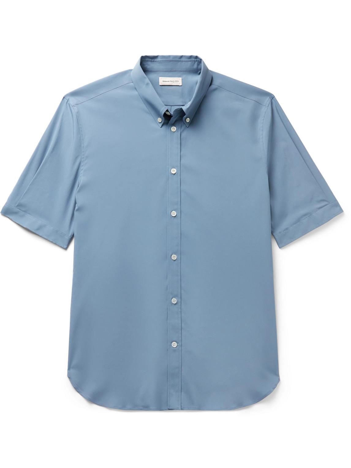 alexander mcqueen - slim-fit button-down collar stretch-cotton poplin shirt - men - blue - uk/us 15.5
