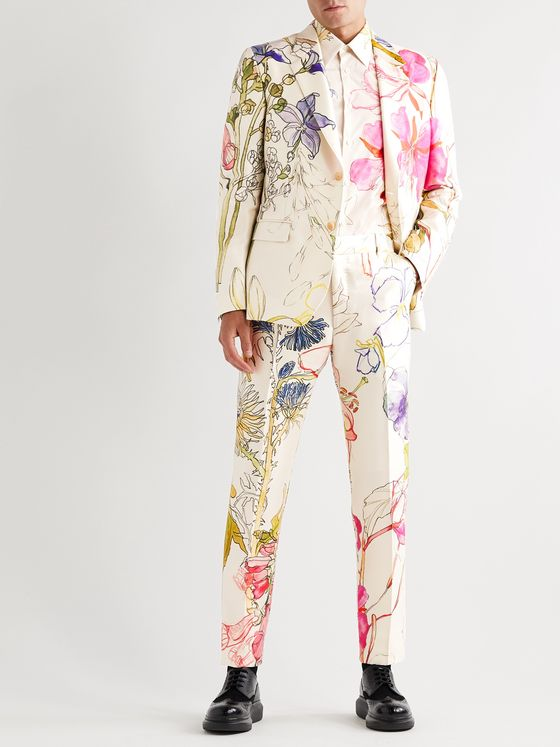 ALEXANDER MCQUEEN Slim-Fit Floral-Print Silk and Wool-Blend Suit Jacket