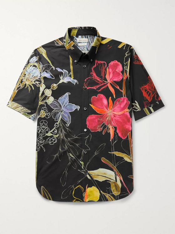 ALEXANDER MCQUEEN Button-Down Collar Floral-Print Cotton-Poplin Shirt