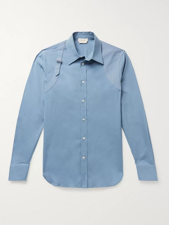 Alexander McQueen Slim-Fit Piqué-Trimmed Stretch-Cotton Poplin Shirt
