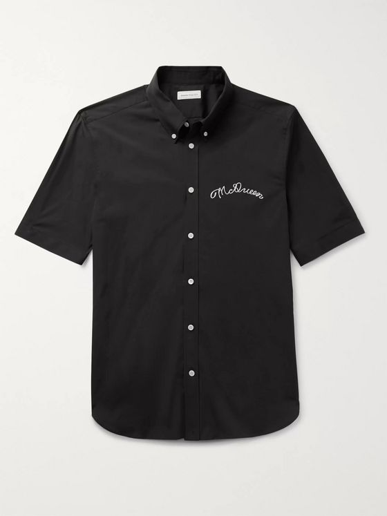 Alexander McQueen Button-Down Collar Logo-Embroidered Stretch-Cotton Poplin Shirt
