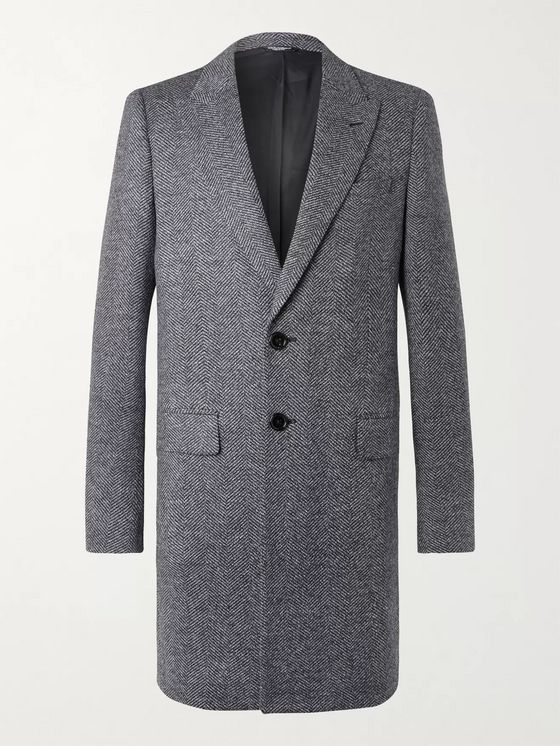 Dolce & Gabbana Herringbone Virgin Wool-Blend Coat