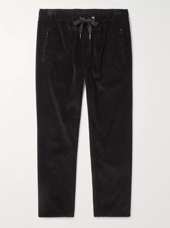Dolce & Gabbana Tapered Cotton-Corduroy Drawstring Trousers