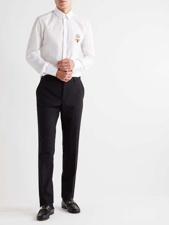 Dolce & Gabbana Slim-Fit Embroidered Cotton-Poplin Shirt