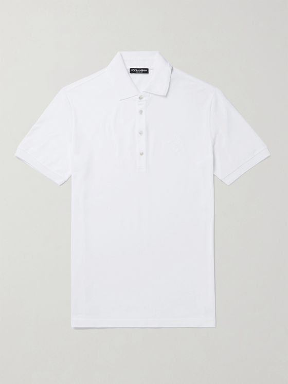 DOLCE & GABBANA Logo-Embroidered Cotton-Blend Piqué Polo Shirt