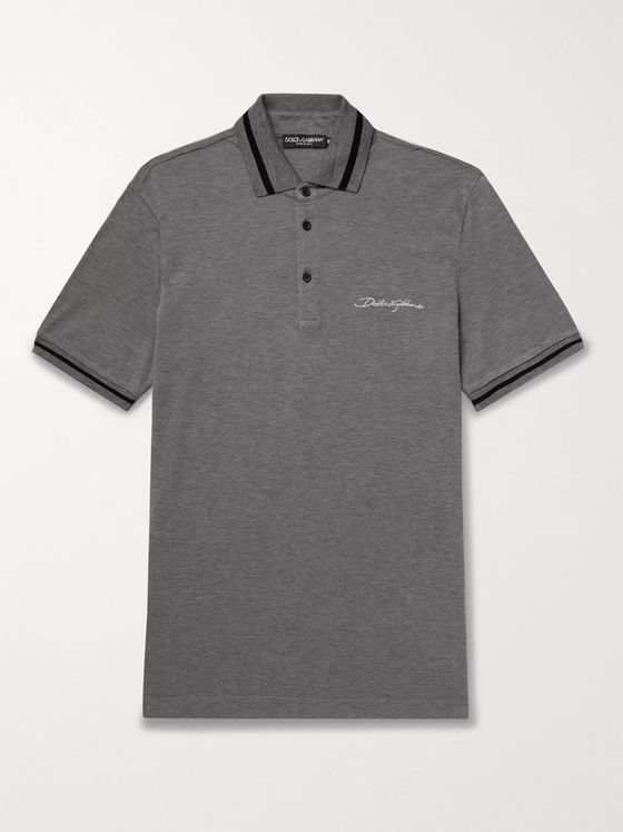 Dolce & Gabbana Logo-Embroidered Contrast-Tipped Cotton-Piqué Polo Shirt
