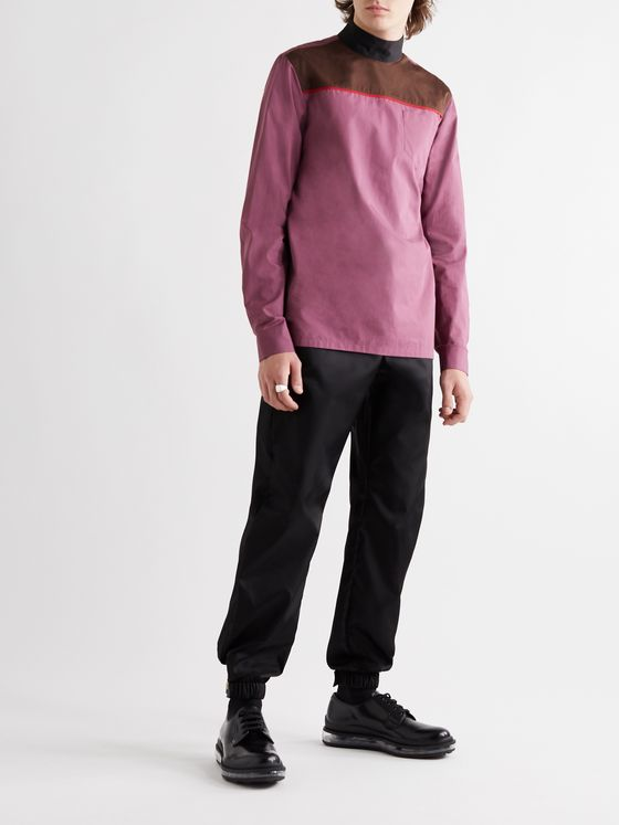 Prada Slim-Fit Piped Colour-Block Cotton-Poplin Shirt