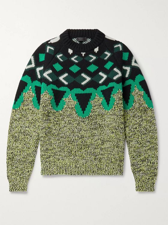 Prada Intarsia Virgin Wool and Cashmere-Blend Sweater