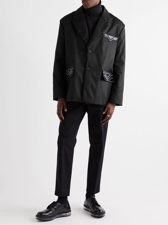 Prada Logo-Detailed Padded Coated Nylon-Gabardine Blazer
