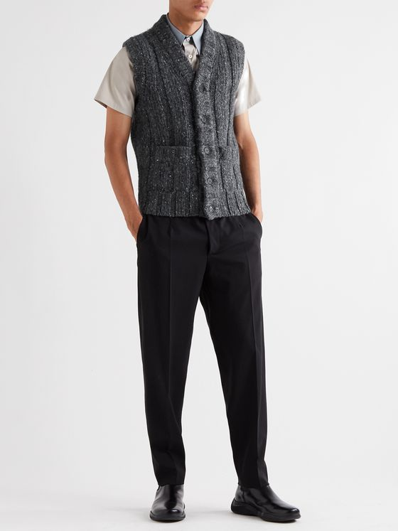 Prada Cable-Knit Mélange Wool Vest