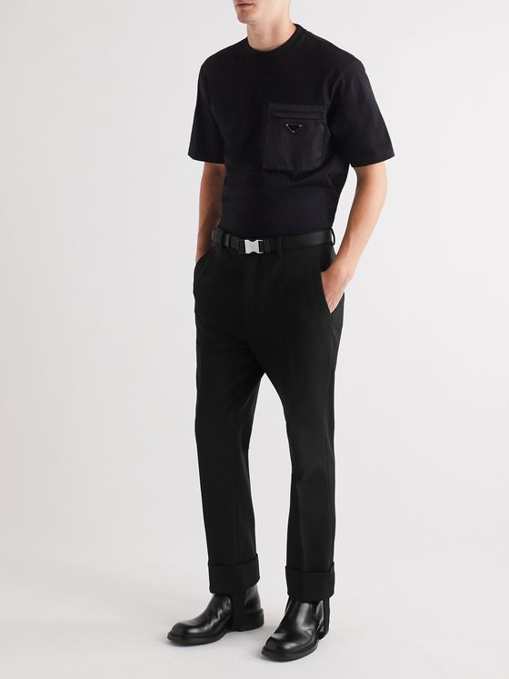 PRADA Slim-Fit Cuffed Nylon-Blend Gabardine Trousers with Detachable Stirrups