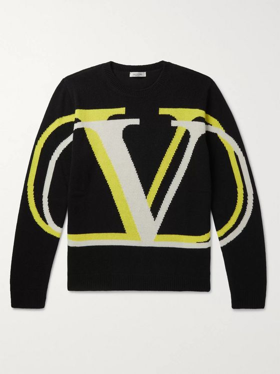 Valentino Logo-Intarsia Virgin Wool and Cashmere-Blend Sweater