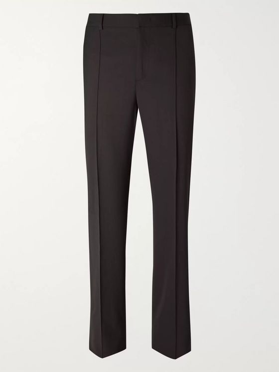 Valentino Wide-Leg Grosgrain-Trimmed Tech-Wool Trousers
