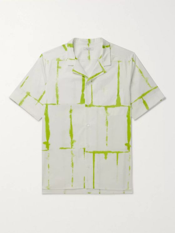 Valentino Camp-Collar Tie-Dyed Cotton Shirt