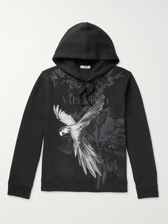 Valentino Printed Cotton-Blend Jersey Hoodie