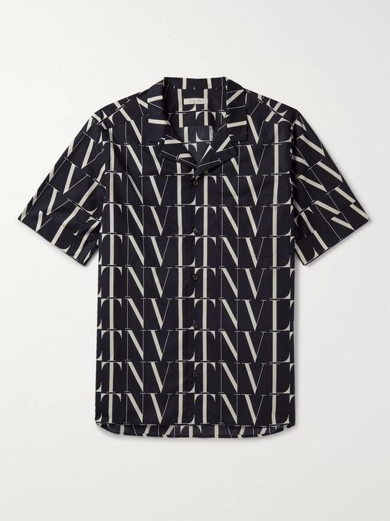 Valentino Camp-Collar Logo-Print Cotton Shirt