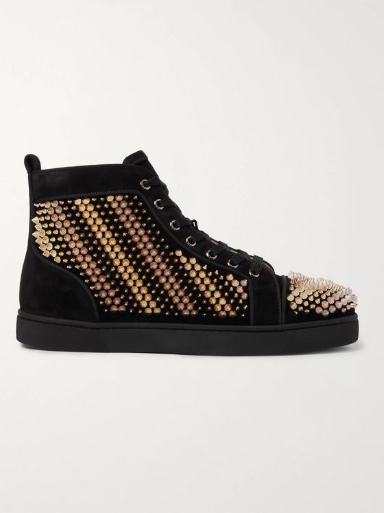 Christian Louboutin Galvalouis Spikes Suede High-Top Sneakers