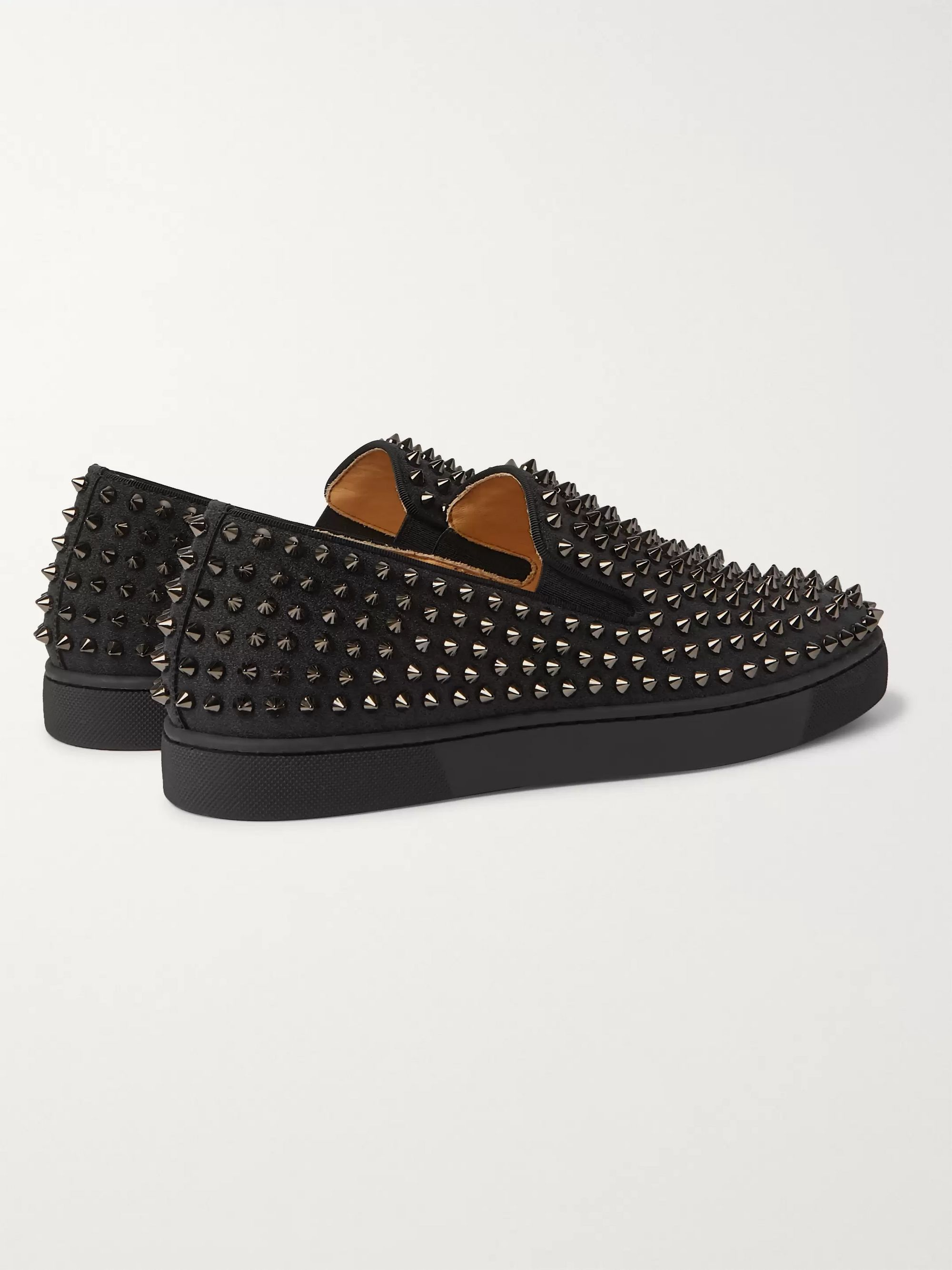 Christian Louboutin Roller-Boat Studded Glittered Leather Slip-On Sneakers