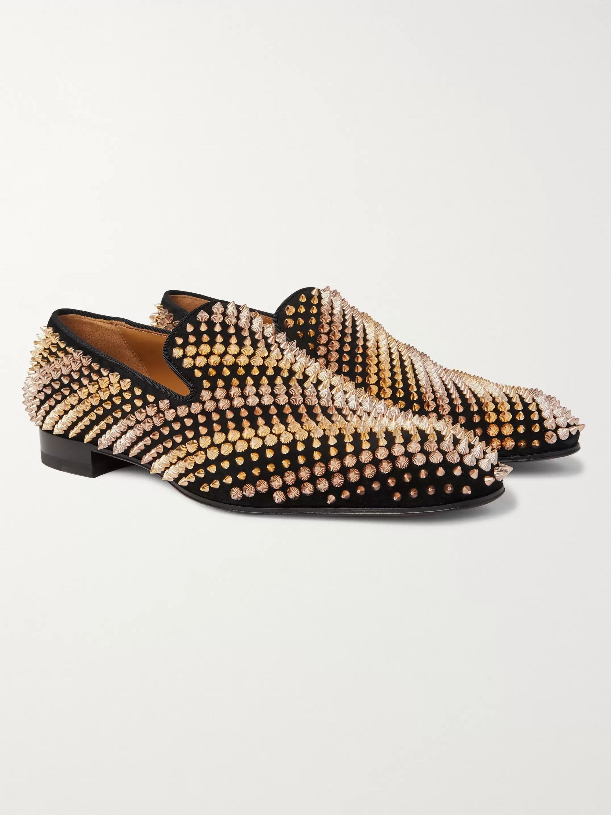 Black Studded Suede Loafers | Christian