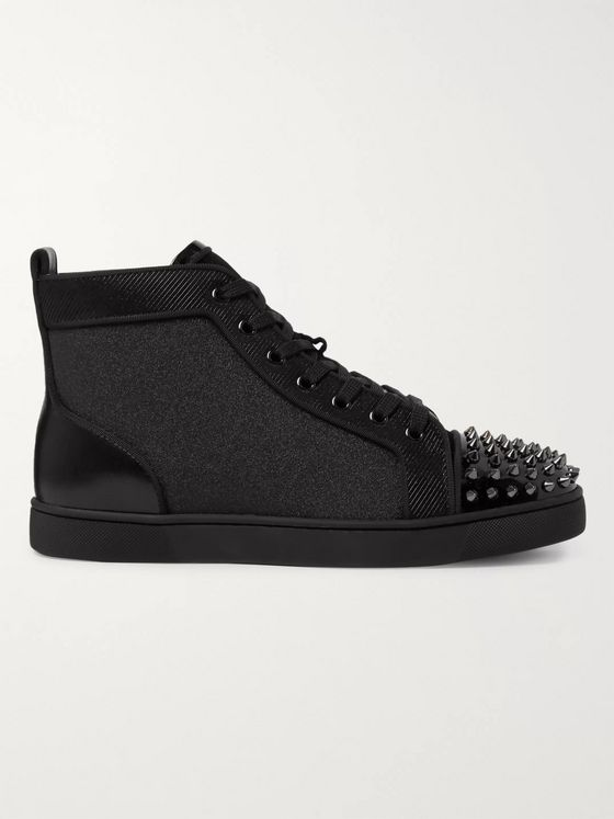 Christian Louboutin Lou Spikes Orlato Velvet, Glittered Canvas, Suede and Leather High-Top Sneakers