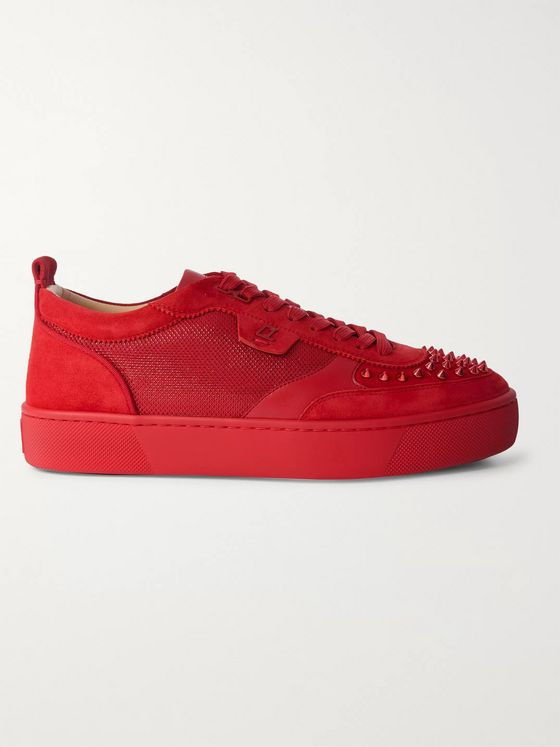 Christian Louboutin Happyrui Spiked Suede-Trimmed Glittered-Mesh Sneakers
