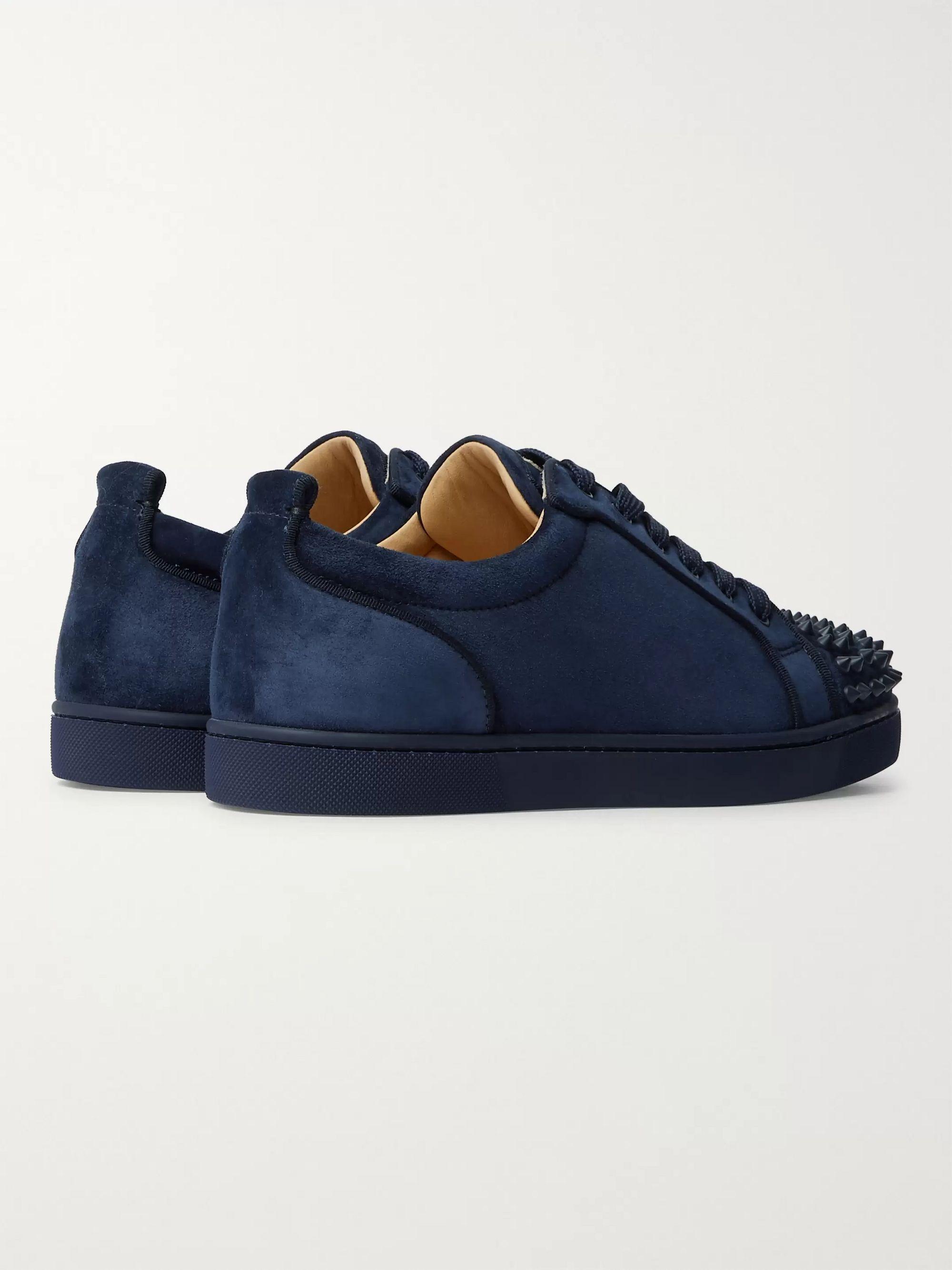 Navy Louis Junior Spikes Cap-toe Suede Sneakers | Christian Louboutin