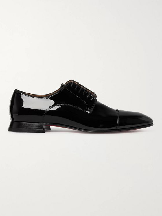 Christian Louboutin Derbytoto Cap-Toe Patent-Leather Oxford Shoes