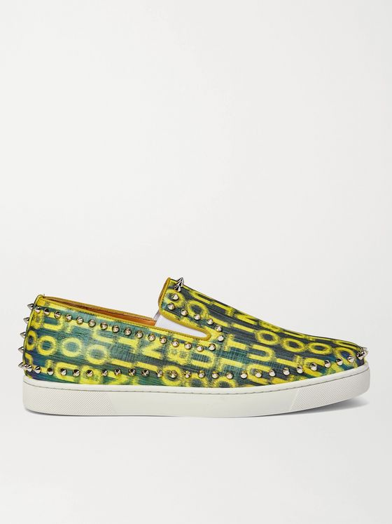 CHRISTIAN LOUBOUTIN Pik Boat Spiked Glittered Logo-Print Canvas Slip-On Sneakers