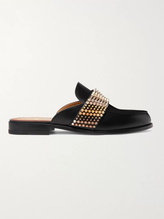 Christian Louboutin Studded Leather Backless Loafers