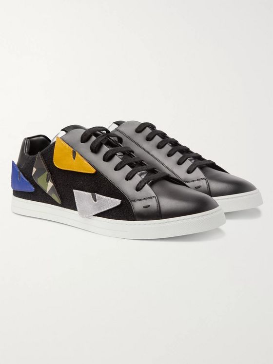Fendi Appliquéd Felt-Trimmed Leather Sneakers