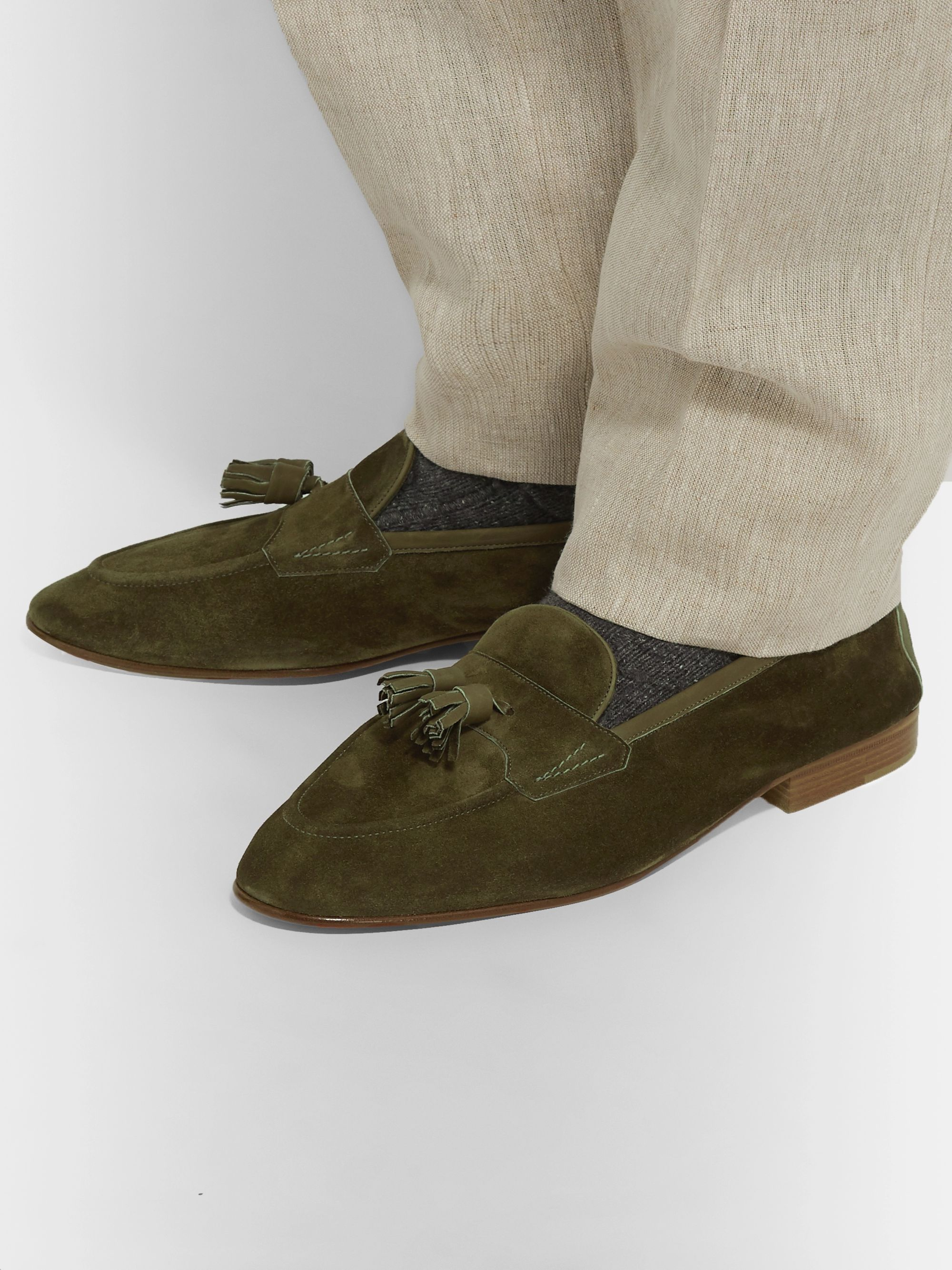 Edward Green Portland Leather-Trimmed Suede Tasselled Loafers