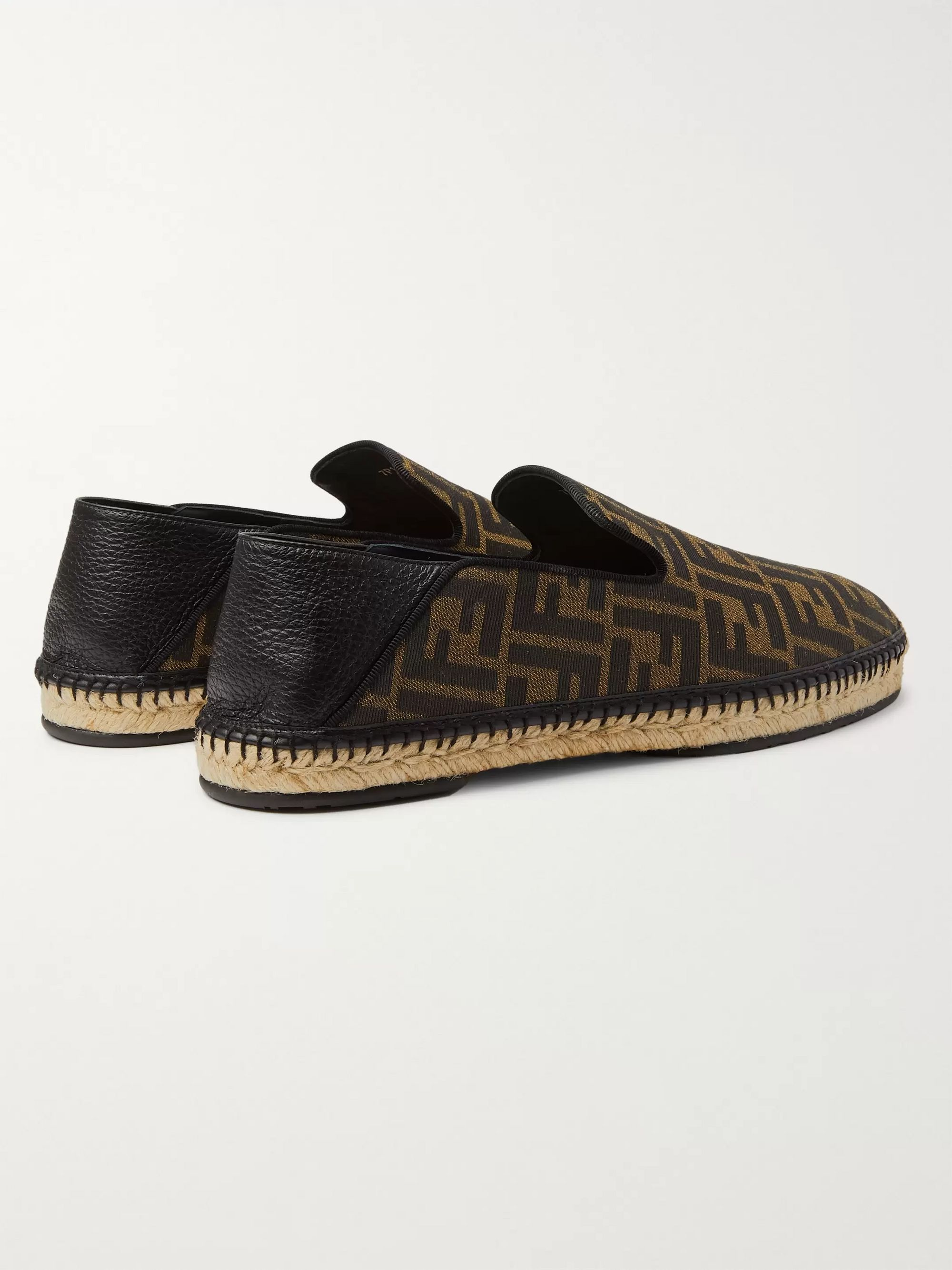 Fendi Collapsible-Heel Leather-Trimmed Logo-Print Canvas Espadrilles
