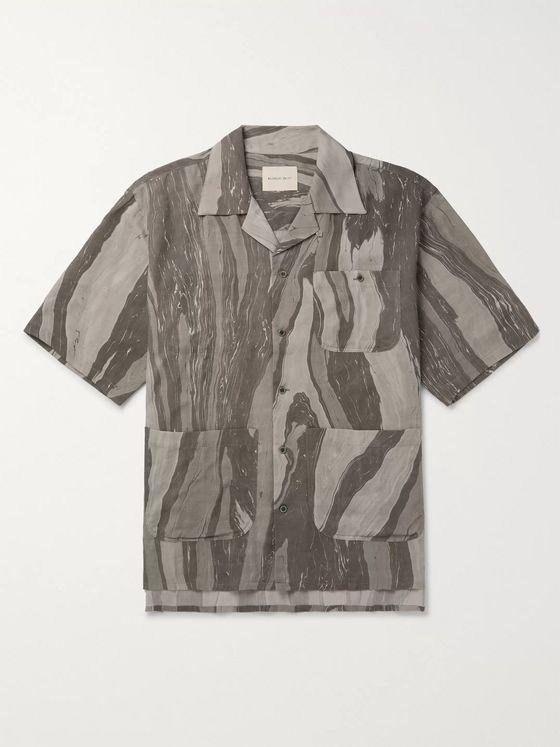 Nicholas Daley Camp-Collar Printed Cotton and Wool Shirt