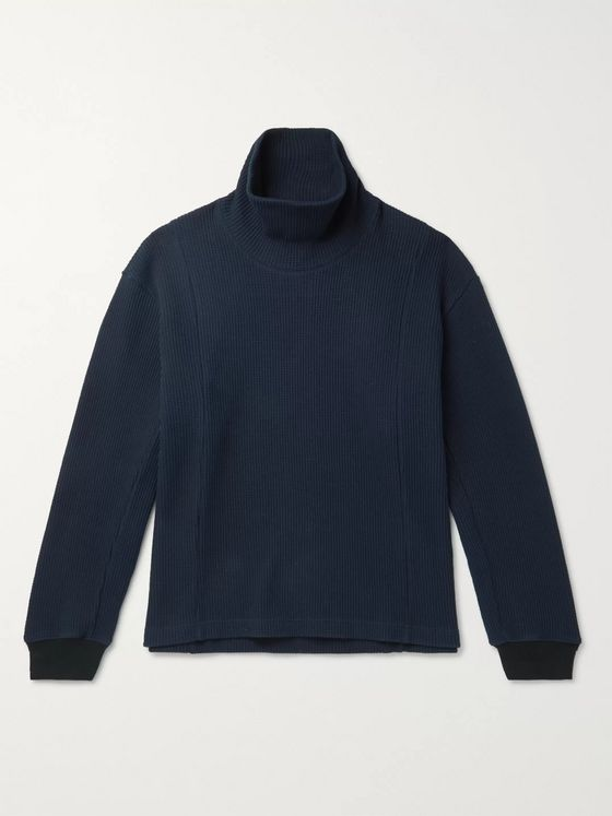 Nicholas Daley Waffle-Knit Cotton Rollneck Sweater