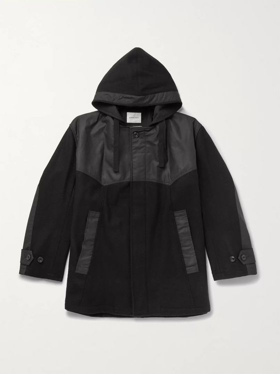 Nicholas Daley Panelled Waxed-Cotton and Melton Wool Hooded Coat