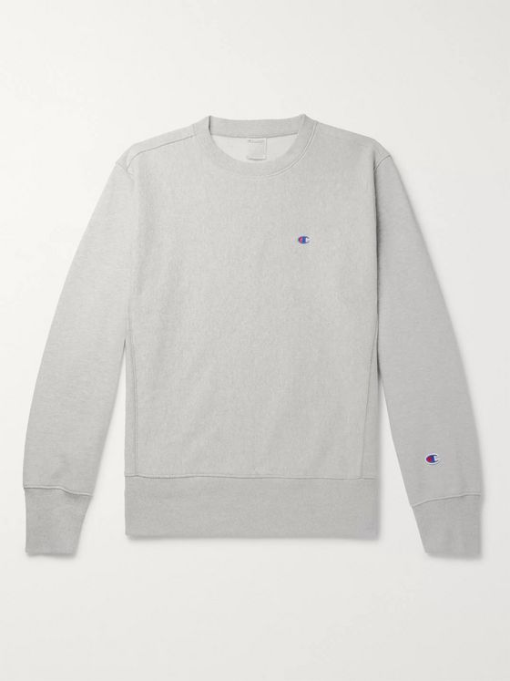 Champion Logo-Embroidered Fleece-Back Cotton-Blend Jersey Sweatshirt